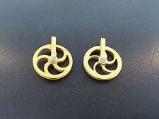 "Miniature 3/4"" Dia. Fancy Vienna Regulator Solid Brass Pulley Set of 2"