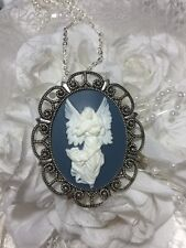 Blue GUARDIAN Angel necklace Pendant SILVER GOLD XMAS  CHERUB CAMEO WINGS Harp