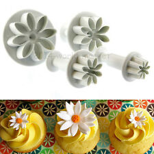 4Pcs Cake Plunger Decorating Daisy Flower Fondant Sugarcraft Cutter Mold #T