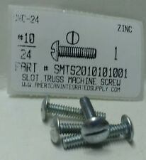 #10-24x1 Truss Head Slotted Machine Screws Steel Zinc Plated (50)