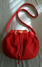 RARE VINTAGE LOEWE RED DRAWSTRING POUCH STYLE CROSSBODY /SHOULDER BAG  HANDBAG