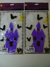 Halloween Gel Clings Purple Haunted House  Window Mirror Decor Fall Lot 2
