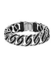 CURRENCY Stylish Men's Bracelet W/0.83 CTW Black Diamond 925 Sterling Silver 7in