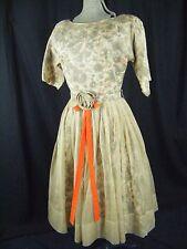 Vtg 50s Autumn Floral Printed Beige Chiffon Overlay Silk Full Dress-Bust 38/M
