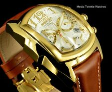 NEW Invicta Dragon Lupah SWISS Quartz Chronograph GoldTone & BROWN Leather