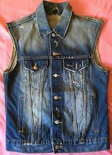 BLUE WASHED SLEEVELESS SLIM FIT DENIM JACKET VESTE  S SIZE