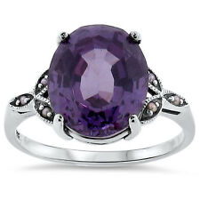 6.5 Ct COLOR CHANGE LAB ALEXANDRITE VICTORIAN STYLE .925 SILVER  RING Sz 9, #139