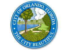 4x4 inch ROUND City of ORLANDO Florida Seal Sticker -decal bumper beautiful logo