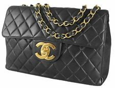 Authentic Chanel Black Quilted Lambskin Classic Jumbo Flap Shoulder Bag