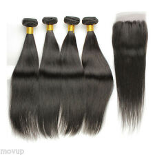 4 Bundles Straight Hair Weft with Lace Closure Virgin Peruvian Human Hair Weave
