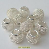 2 or 10 x Silver Plated European Styled Costume Charm Bracelet Mesh Spacer Beads