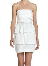 Nwt $248 French Connection All Hail Helen Strapless Belt Ruffle Dress White 10