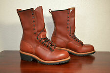 "RED WING RED LEATHER 10"" STEEL TOE LINEMAN LOOGER BOOTS SZ 9 E2 STYLE 2221 $345"