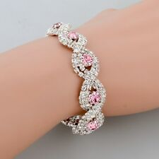 18K WHITE GOLD PLATED GENUINE CLEAR & PINK  AUSTRIAN CRYSTAL BRACELET
