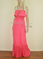 CORAL Strapless RUFFLED Tube Long Floor Length Casual Summer Knit Maxi Dress L