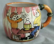 Vtg-Hand Painted Pottery Mug/Stein-Card Playing Game Scene-Detailed-Italy-16 oz