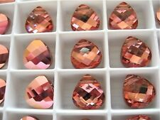 2 Light Rose Rosaline Swarovski Crystals Pendants Briolette 6012 11mm