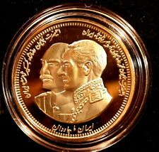 IRAN, PERSIA, REZA SHAH & M. R. PAHLAVI USA 2003(1382) MEDAL Unc.24k Gold Plated