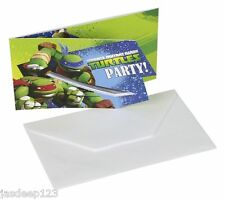 Teenage Mutant Ninja Turtles 6 invita a & Sobres Tmnt Cumpleaños Party Supplies