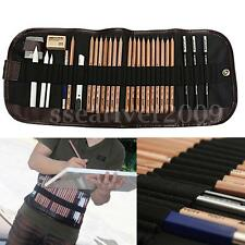 29pcs Set Sketch Pencil Charcoal Eraser Paper Pen Cutter Drawing Writing Kit Bag