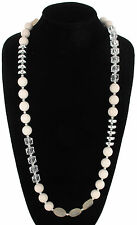 Necklace Long Mixed Bead White Clear Faux Crystal Geo Silver Tone Chain