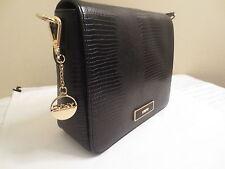 DKNY Donna Karan Lizard Leather Flap Shoulder CrossBody Bag Black/Gold MSRP $250