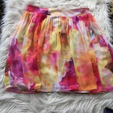 LIZ CLAIBORNE Beautiful  FLORAL PRINT PLEATED Flowing Lined  SKIRT Sz 14 EUC QR