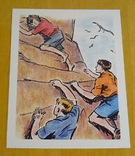 THE FAMOUS FIVE PRINTED POSTCARD ~ FIVE CLIMB DEMONS ROCK ~ ENID BLYTON ~ NEW