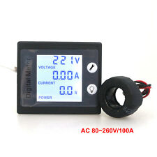 AC260V100A Digital Voltmeter Ammeter Power Energy Meter Watt Tester STN Blue LCD
