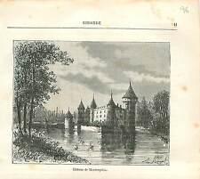 Château de La Brède Montesquieu Gironde FRANCE GRAVURE ANTIQUE PRINT 1882