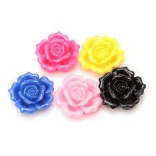 10x Random Multicolor Roses Resin Stick-on Flatback Embellishments Fit Carfts L