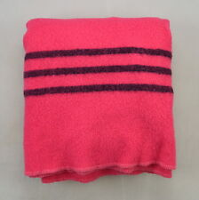 "Vintage Hot Pink Soft Fuzzy Wool Hudson Bay Point Style Throw Blanket 62"" x 72"""