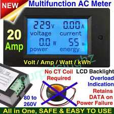 20A Digital AC Combo LCD Watt Volt Amp Power Electric Energy Current Meter New