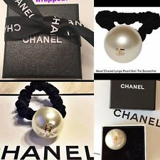 Chanel Big Pearl CC VIP Gift HairTie Scrunchie Ponytail Holder /Bracelet- Velvet