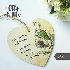 Handmade Wooden ALICE IN WONDERLAND Vintage Plaque/Sign Heart Gift White Rabbit