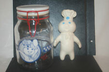 Vtg Pillsbury Poppin' Fresh Glass Canister W/ 1971 Rubber Doughboy Swivel Head