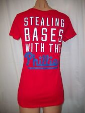 "NWT VICTORIAS SECRET ""PINK"" ""STEALING BASES WITH THE PHILLIES"" T SHIRT TEE MED"