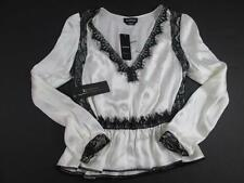 BEBE WHITE BLACK HOLIDAY SEXY LACE SILK PEPLUM L/S TOP BLOUSE XS NWT