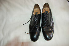 Mario Valentino Black Leather Lace Up Shoes Size 7 1/2 Made in Italy