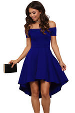 New Royal Blue Off Shoulder Skater Dress Party Club Summer Wear Size UK 10-12
