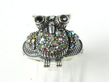 Unique Blue Sapphire and Mystic Stone Victorian Deco Sterling OWL Ring W01
