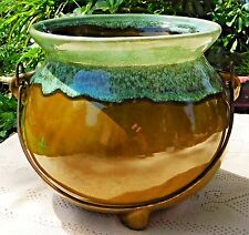 VINTAGE MID-20th CENTURY McCOY POTTERY BEAN POT KETTLE  WITH DRIP GLAZE FINISH