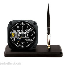 TRINTEC ALTIMETER Desk Pen Set Aviator Altitude Alarm Clock Guage DS20 New