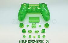 Clear Green Custom Replacement Full Shell Mod Kit For PS4 Playstation Controller