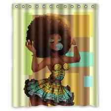 Waterproof Custom African Woman Bathroom Polyester Fabric Shower Curtain 60x72
