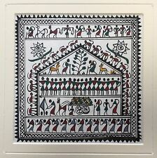 Original 'Pair' Indian Miniature Painting Warli Tribal Folk Art India Mounted