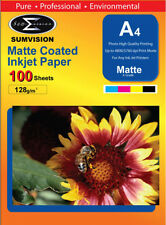 100 Sheets of A4 Sumvision 128gsm Matte Coated Inkjet Photo Paper