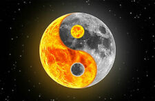 Framed Print - Sun and Moon Yin Yang (Picture Poster Oriental Space Art Mars)