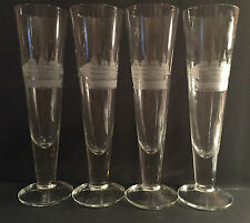 "Toscany 10"" Handblown Crystal Etched Ship Fluted Champagne Glasses Set of 4"