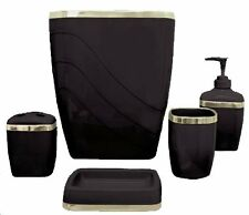 Bathroom Bath Accessory Set 5Piece Toothbrush Holder Soap Dispenser Wastebasket